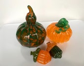 Green & Orange Glass Pumpkin, Acorns and Squash, Set of Four Hand Blown Gourds, Decorative Thanksgiving Centerpiece, By Avalon Glassworks