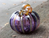 "Purple & Gold Blown Glass Pumpkin, 4.5"" Decorative Sculpture with Metallic Ribs and Stem, By Avalon Glassworks"