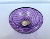 """Purple Hand Blown Glass Bowl, 4.75"""" Double-Wall Style Optic Twist Pattern, Candy Dish Jewelry Holder Key Drop Entry Decor, Avalon Glassworks"""
