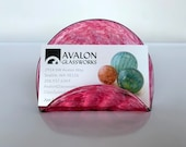 "Pink Business Card Holder, 4"" Hand Blown Glass Desk Accessory in Transparent Cranberry, Office Display, Executive Gift, By Avalon Glassworks"