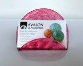 """Pink Business Card Holder, 4"""" Hand Blown Glass Desk Accessory, Transparent Cranberry, Office Lobby Display Executive Gift, Avalon Glassworks"""