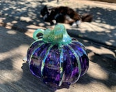 "Princess Pumpkin, Purple & Ice Blue Glass Pumpkin, 4"" Decorative Blown Glass Sculpture with Metallic Ribs, Autumn Decor, Avalon Glassworks"