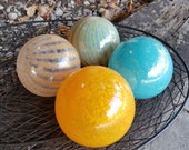 "Orange & Aqua, Mid-Century Colors, Two-Toned Striped and Solid, Set of Four 3.5"" Blown Glass Floats, Decorative Spheres By Avalon Glassworks"