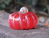"Red and Gold Blown Glass Pumpkin, 4"" Wide Transparent Cherry Red Gourd with Gold Ribs and Stem By Avalon Glassworks"