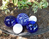 Blue and White Spheres, S...