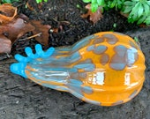 "Orange and Turquoise Blown Glass Gourd, 8.5"" Long Flat Pumpkin, Aqua Spots and Curly Ribbed Stem, Decorative Sculpture By Avalon Glassworks"