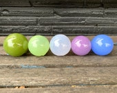 Purple and Green Glass Floats, Hand Blown Decorative Balls, Set of 5 Pond Spheres, Lavender Sage Herb Garden Kitchen Decor Avalon Glassworks