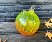 "Orange and Yellow Fade Ornament, 3"" Wide, Hand Blown, Sun Catcher, Christmas Decor, Two-Toned Ombre Ornament, Metal Hook, Avalon Glassworks"