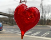 "Red Heart Ornament, 3.25"" Long Blown Glass Hanging Decoration, Sun Catcher, Valentine's Day Gift, By Avalon Glassworks"