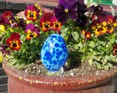 "Cobalt Blue on Light Blue Easter Egg, 3.5"" Blown Glass Egg Sculpture, By Avalon Glassworks"