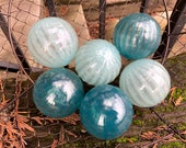 "Dusty Blues Ribbed Blown Glass Balls, Set of Six, Slate Turquoise Powder Blue 2.75"" Pond Floats Garden Decor Basket Filler Avalon Glassworks"