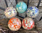 Bright Color Earth Tone Calcedonia Glass Balls, Set of 5 Decorative Floats, Basket Filler Outdoor Garden Art Pond Spheres, Avalon Glassworks