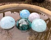 "Airy Shades of Blue, Blown Glass Floats, Set of 5 Translucent 2.5""-3"" Pond Balls Garden Art Decoration Bowl Basket Filler, Avalon Glassworks"