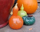 Glass Gourds with Teal Pumpkin Set of Three Hand Blown Squash with Orange and Green Goosenecks, Autumn Decor by Avalon Glassworks