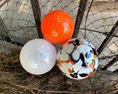 Glass Floats for Birdbath, Set of Three Small Decorative Hand Blown Balls, Orange White Black, Outdoor Garden Art Spheres, Avalon Glassworks