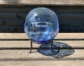 "West Seattle Bridge Float with Stand, Transparent Blue Blown Glass 4"" Ball with Silver Etching, Garden Ball, Office Decor, Avalon Glassworks"