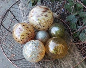 "Brown and Gold Floats, Set of Six, 2.5"" - 4.5"" Blown Glass Spheres, Decorative Floats for Outdoors or Indoors, By Avalon Glassworks"