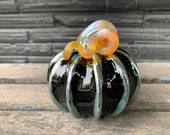 "Black and Gold Pumpkin, 4"" Decorative Blown Glass Squash Sculpture with Curly Coil Stem and Metallic Accent on Ribs, By Avalon Glassworks"