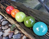 "Mid-Century Colorful Set of Five 2.5"" Floats, Garden Balls, Nautical Home or Garden Décor, Hand Blown By Avalon Glassworks"