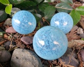 "Blue Opal Pond Floats, Set of Three 2.5"" Light Blue Opalescent Blown Glass Decorative Balls, Outdoor or Indoor Decor By Avalon Glassworks"
