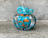 "Turquoise and Orange Spot Glass Pumpkin, Solid 3"" Paperweight, Decorative Squash Sculpture in Bright Blue with Blue Stem, Avalon Glassworks"