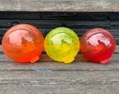 "Hot Colors, Red,Orange Yellow Set of Three 4.5"" Hand Blown Glass Floats, Warm Tones, Decorative Outdoor Garden Art Balls, Avalon Glassworks"