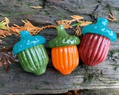 "Glass Acorns, Set of Three, Red Green Orange Turquoise, 3"" Oak Tree Seed Pod Sculptures, Paperweights, Autumn Table Decor, Avalon Glassworks"