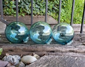 "Nautical Aqua Blue Floats, Set of Three, 3.5"" Garden Balls in Transparent Light Blue, Pond Floats, By Avalon Glassworks"