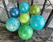 Green Blue Turquoise Glass Balls, Set of 7 Decorative Spheres Hand Blown Interior Design Nautical Garden Orbs Pond Floats, Avalon Glassworks