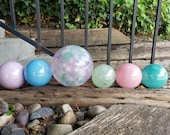 "Pastel Hues Blown Glass Garden Balls, Set of Six Floats, 2.5""-4.5"" Decorative Spheres, Pink Blue Turquoise, Outdoor Art, Avalon Glassworks"