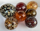 "Autumn Colors, Glass Floats Set of Seven 2.5""-4"" Speckled Natural Red Brown Amber Earth Tone Garden Balls Floating Spheres Avalon Glassworks"