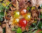 "Autumn's Jewels, Set of Five Pond Floats, 2.5"" Jewel-Toned Spheres, Blown Glass Decorative Balls, Garden Floats By Avalon Glassworks"