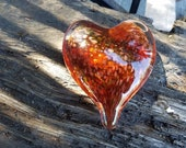 Amber Glass Heart with Go...