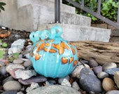 "Aqua Blown Glass 4.5"" Pumpkin, with Orange Spots and Curly Aqua Ribbed Stem, Decorative Sculpture By Avalon Glassworks"