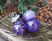 "Amethyst Purples, Set of Four Blown Glass Floats, 2.5""-3.5"", Decorative Nautical Balls For Home or Garden, by Avalon Glassworks"
