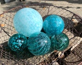 "Turquoise & Aqua Blown Glass Floats, Set of Five 2.75""-5"" Decorative Spheres, Nautical Blue Outdoor Garden Art Pond Balls, Avalon Glassworks"