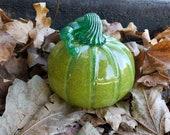 "Mossy Green Pumpkin, 6"" Hand Blown Glass Pumpkin, Decorative Gourd Sculpture with Darker Green Ribs and Stem, By Avalon Glassworks"