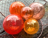 "Warm Transparents, Set of Five Blown Glass Floats 2.5"" to 4.5"" Decorative Balls in Red & Orange, Sturdy Garden Spheres, By Avalon Glassworks"