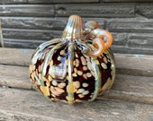 "Ruby Red Pumpkin with Beige Spots, Blown Glass 5"" Gourd with Gold Accent on Ribs, Twisty Stem, Thanksgiving Centerpiece, Avalon Glassworks"