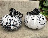 "Black & White Spotted Glass Pumpkins, Set of Two 4""-4.5"" Decorative Squash Sculpture, Dalmatian Spots, Autumn Decoration, Avalon Glassworks"