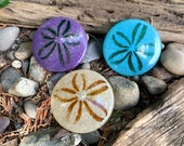 "Trio of Sand Dollars, Solid Glass 3.25"" Paperweights in Turquoise, Purple & Natural, Party Favors, Sea Shell Sculptures, Avalon Glassworks"