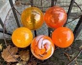 "The Oranges, Glass Garden Balls Set of Five 3""-4"" Decorative Hand Blown Floats, Nautical Spheres, Autumn Home Décor, By Avalon Glassworks"