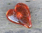 "Amber Glass Heart with Bubble Burst Center, Solid Heart-Shaped 3"" Paperweight Sculpture, Appreciation Gift, By Avalon Glassworks"