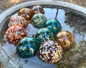 "Teal, Orange, Purple Spot Floats, Set of 10 Decorative Blown Glass Balls, 2.75"" Pond Floats, Outdoor Garden Art Decor, Avalon Glassworks"