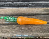 "Glass Carrot Sculpture, 8"" Blown and Sculpted Vegetable Decoration, Orange Root Green Leaf Gold Accent, Kitchen Art Decor, Avalon Glassworks"