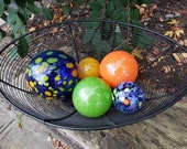 "Orange, Green and Blue Glass Balls, Set of Five, 2.5"" to 4.5"" Hand Blown Floats, Sturdy Decorative Garden Spheres by Avalon Glassworks"