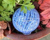 "West Seattle Bridge Float, Blue & White Stripe Optic Twist Blown Glass 4"" Ball with Silver Etched Bridge Graphic, by Avalon Glassworks"