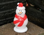 "Santa Snowman with Red Cap and Scarf, 6"" Blown Glass Mantel or Tabletop Sculpture, ""Carrot"" Nose and Black Coal-Like Eyes, Buttons"