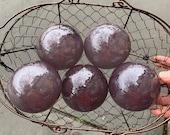 """Purple Plum Glass Floats, Set of Five 2.75"""" Decorative Balls, Iridescent Dark Mauve, Garden Art Spheres Outdoor or Indoor, Avalon Glassworks"""