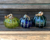"Glass Pumpkins, Aqua, Blue, Green, Set of Three, 5"" Blown Glass Gourds, Metallic Stems and Ribs, Colorful Coastal Decor, Avalon Glassworks"